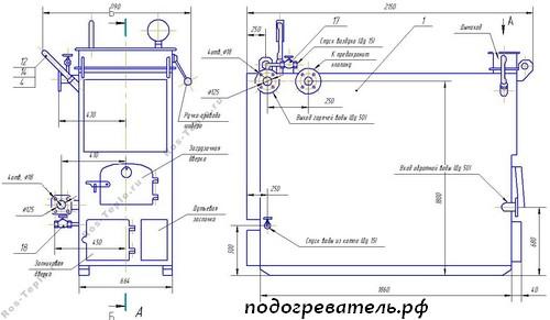 Схема котла стального